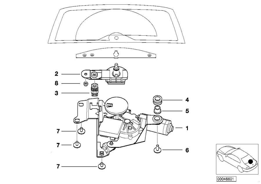 BMW 325i Catch bracket, rear window. Trunk, Wiper, System