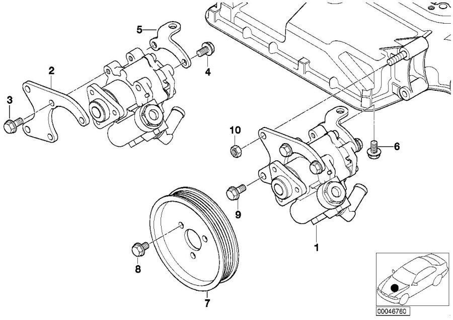 BMW M5 Front vane pump bracket. Steering, power