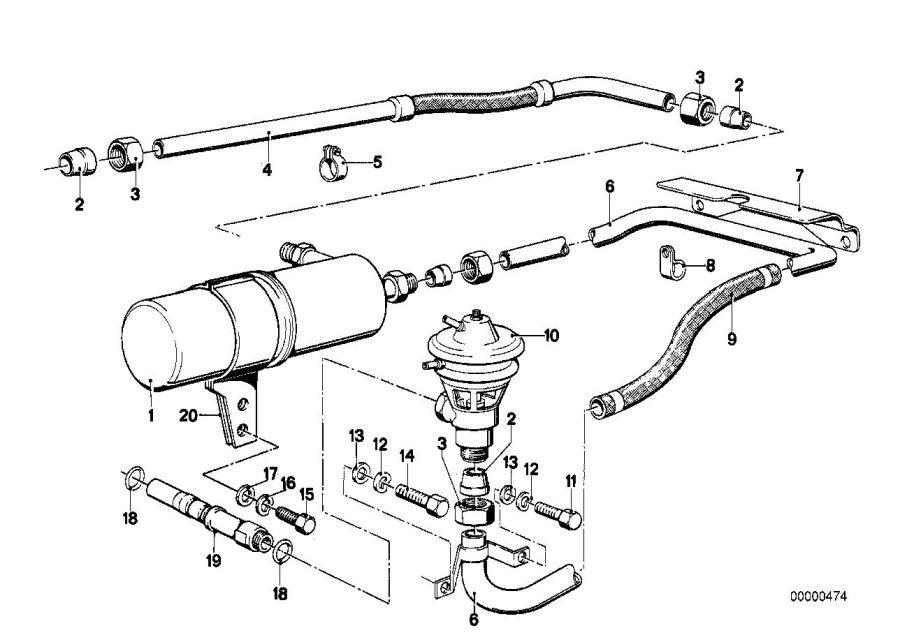 BMW 633CSi Exhaust gas filter. Manifold, engine, emission