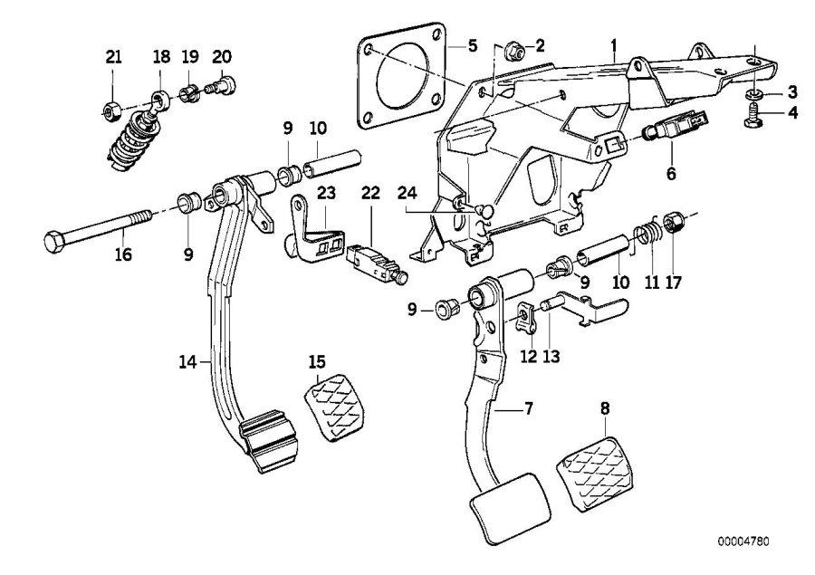 BMW 850CSi Stop light switch. 4-polig/elo. Pedals