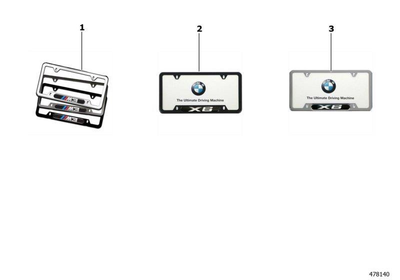 BMW M3 Number plate frame. POLISHED/M3. Exterior