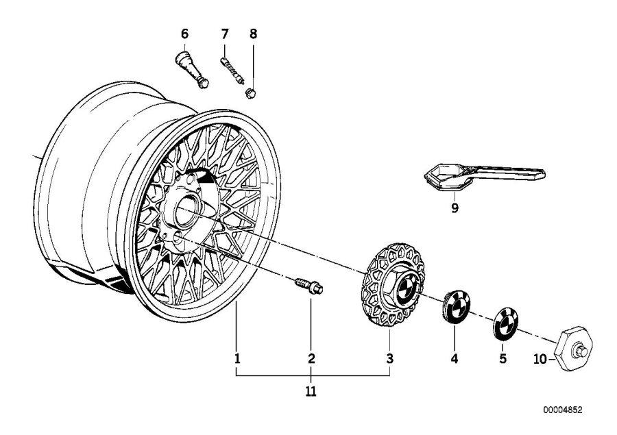 BMW 325i Rim light metal nogarosilber. 7jx15 et:24. Wheels