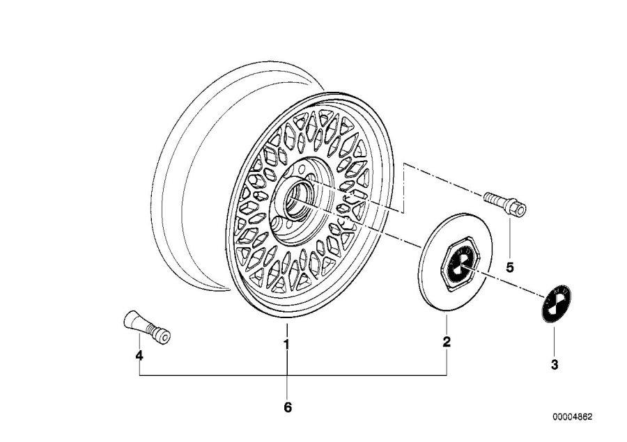 BMW 740iL Light alloy rim. 7JX15 ET:20. Wheels