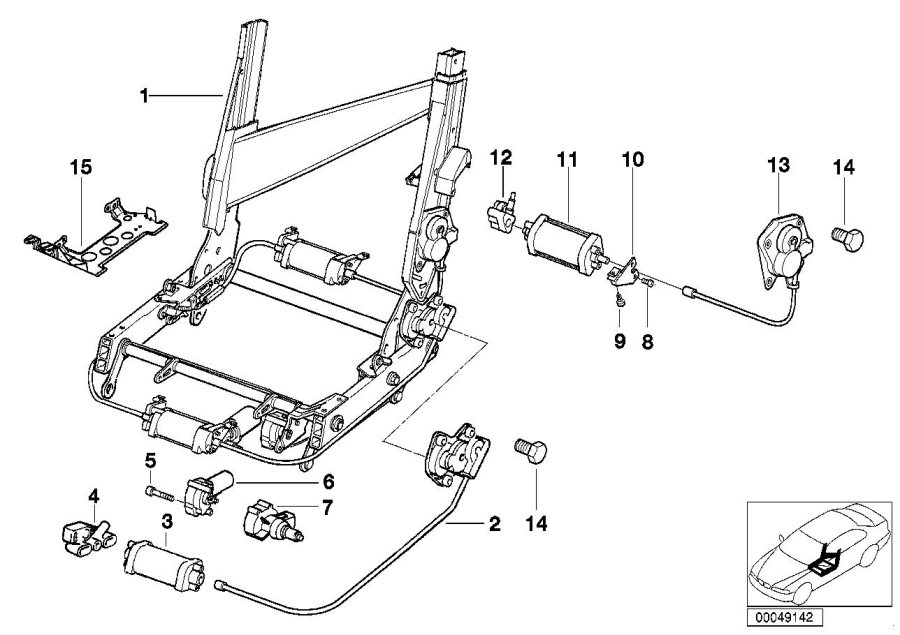 BMW 840i Gearbox right. Seat, backrest, front