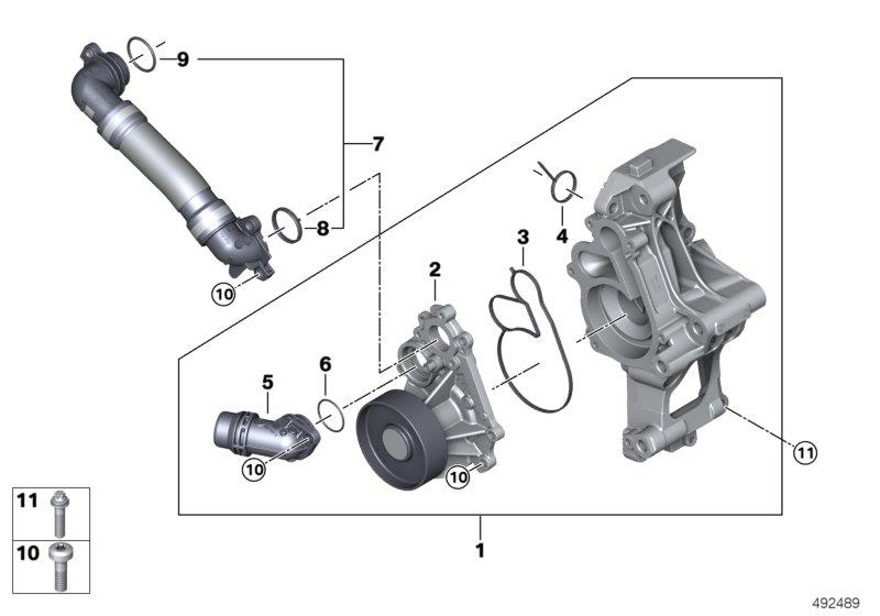 BMW X3 Profile-gasket. Engine, Cooling, System, Pump