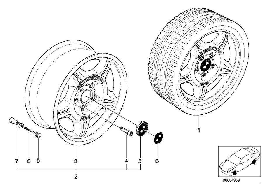 BMW 318is Alloy rim, forged. 71/2JX17 ET:41. Wheels