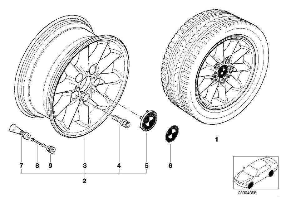 BMW 328i Light alloy rim. 7JX15 ET:47. Wheels