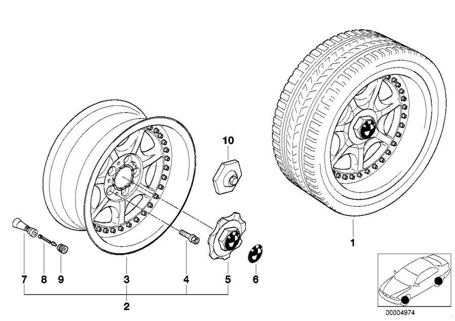 BMW 540iP Two-piece light alloy rim. 8jx17 et:20. Wheels