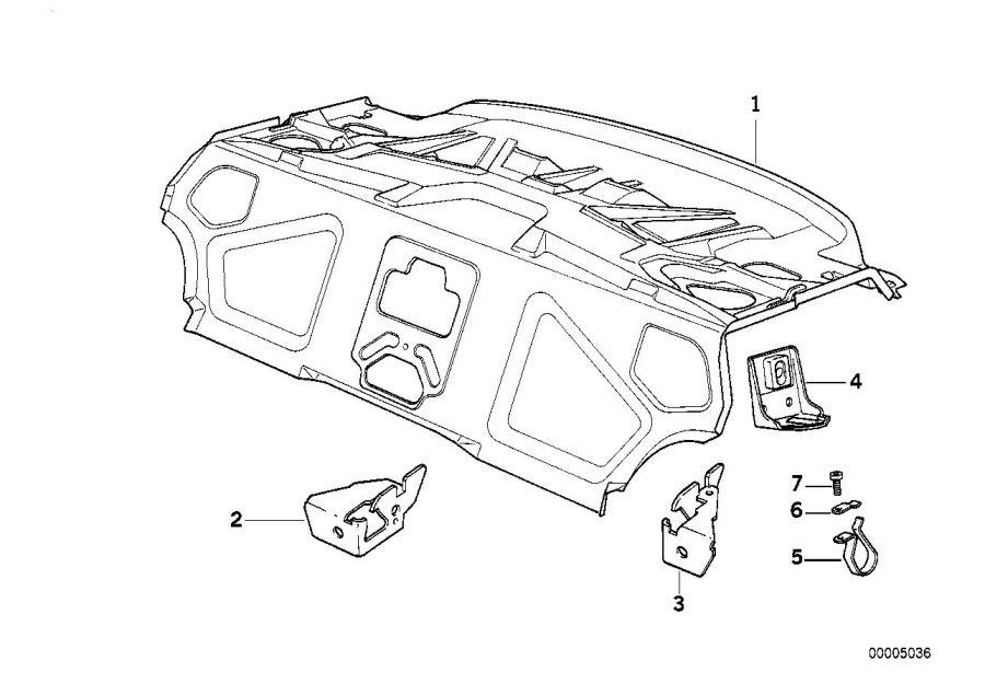 BMW 840Ci Upper backrest bearing bracket. Body