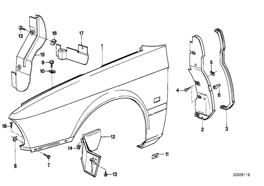 BMW M5 Cover, wheell housing, front left. Body