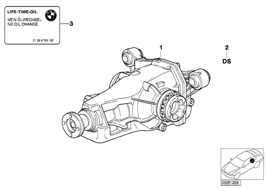 BMW 850Ci Exchange final drive. I=45:17=2, 65. Rear, Axle