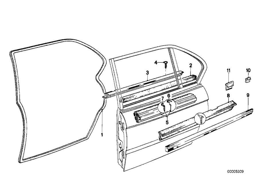 BMW 530i Door weatherstrip inner. Rear, trim, body