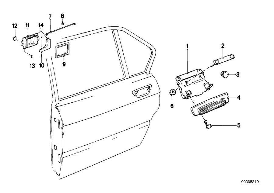 BMW 524td Door handle, inside left. Body, Trim, Rear