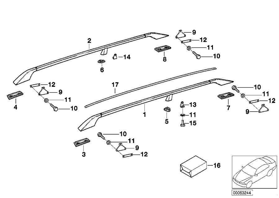 BMW M5 3.6 Base, roof railing, center, right. Hood, Multi