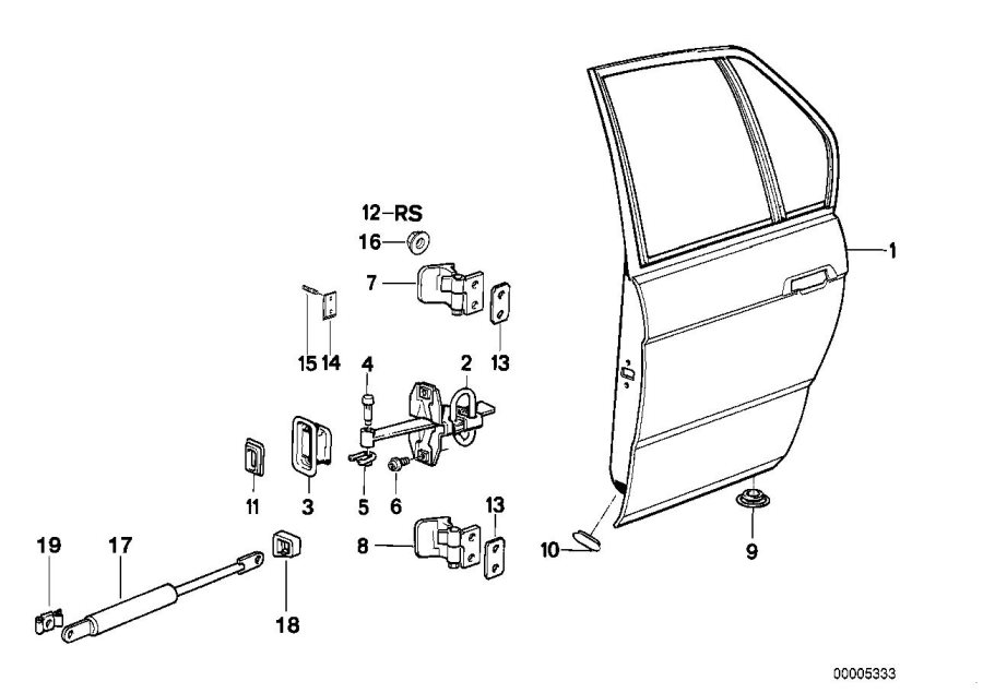 BMW 750iL Repair kit, hinge. Door, Rear, Front