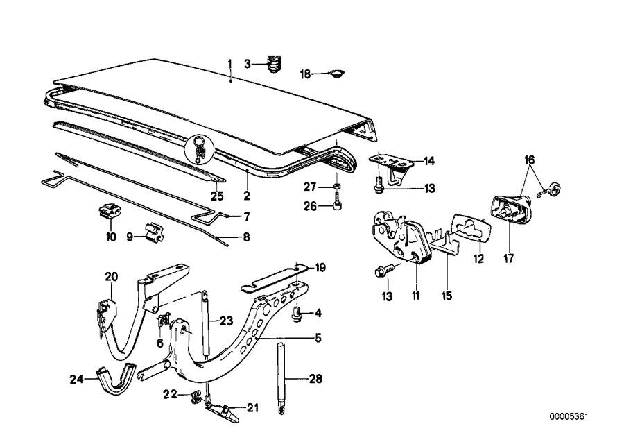 BMW 318i Gas pressurized spring. 150N. LID, Trunk