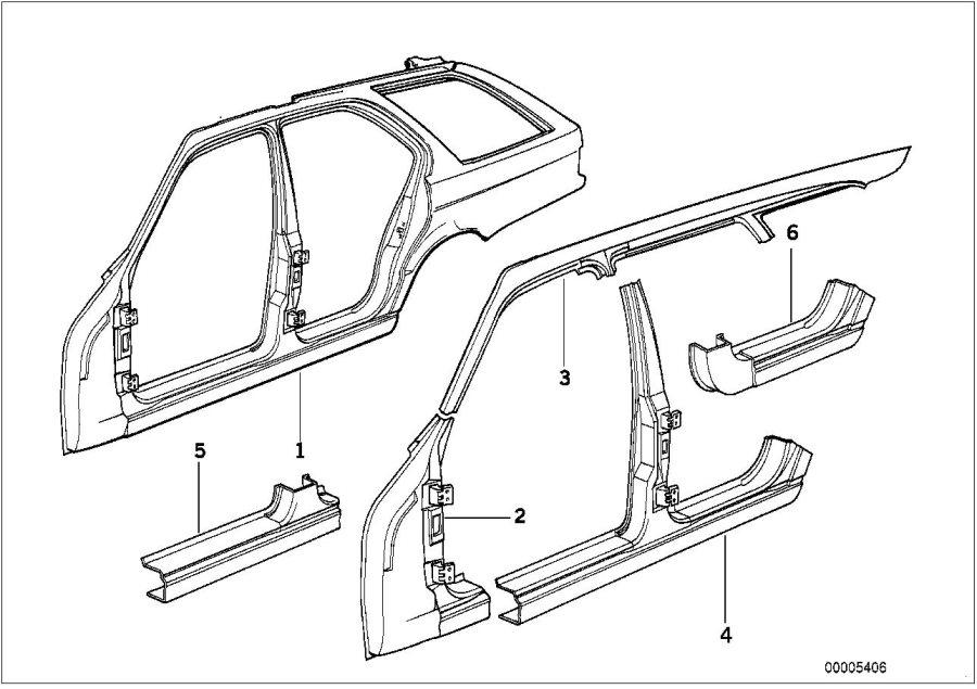 BMW 530i Section of rear left entrance. Body, side