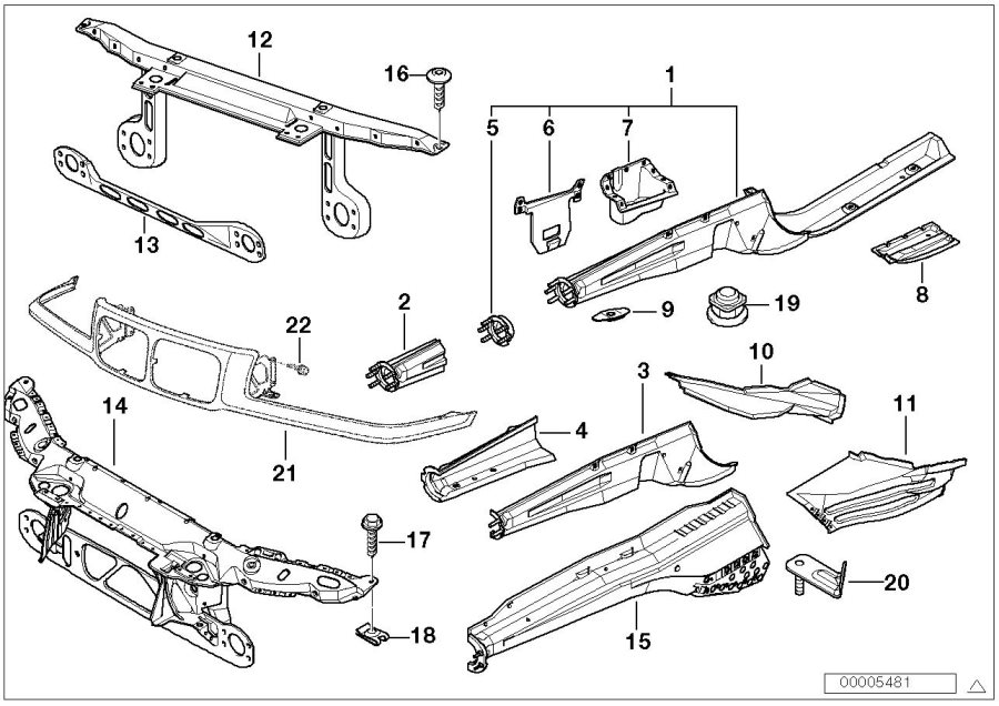 BMW 318ti Section of right engine support. Body, front