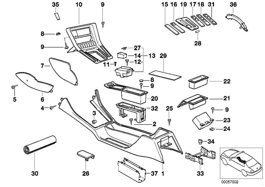 BMW 850Ci Storing partition. Body, armrest, centre