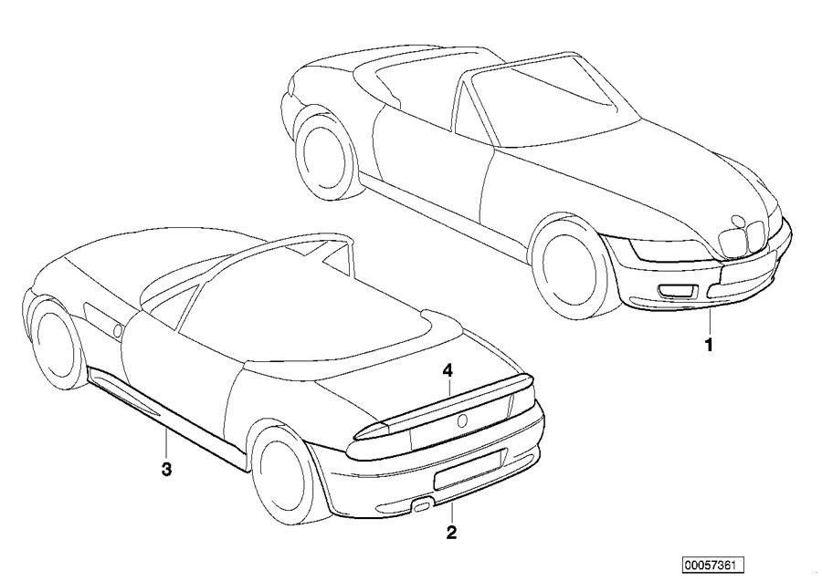 BMW Z3 Installing set rear apron. 4-zyl., u s. Exterior