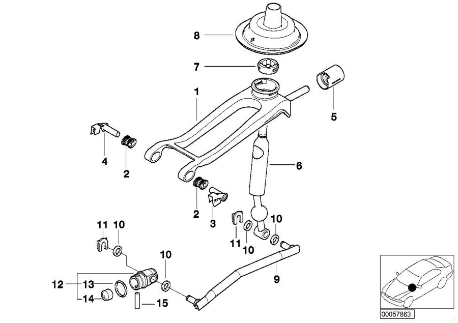 BMW 325xi Shifting arm, double rod. Transmission