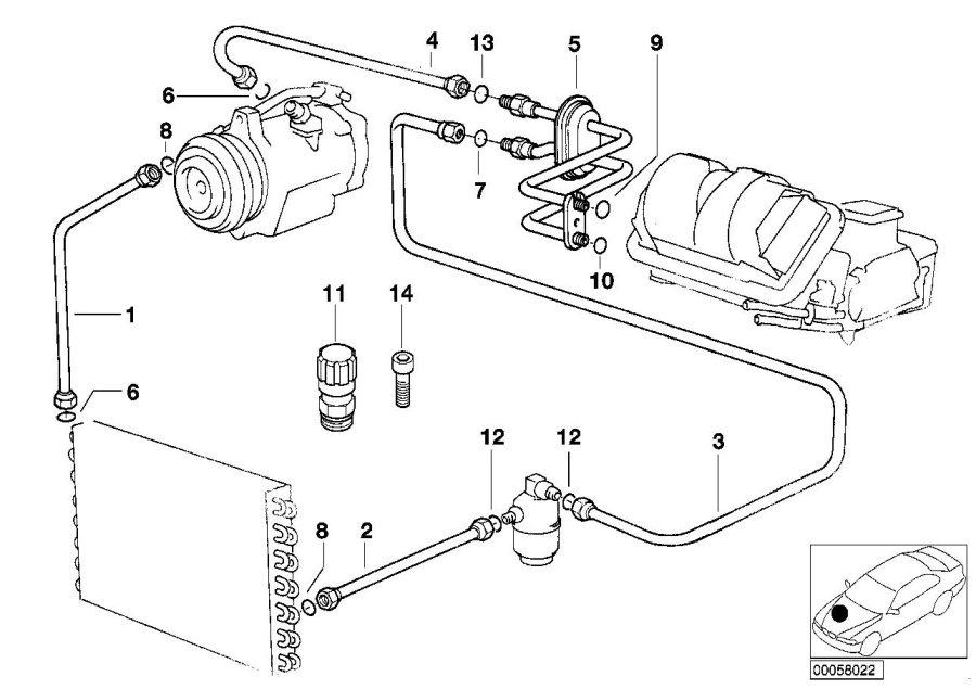 BMW 318is Suction pipe evaporator-compressor. Coolant