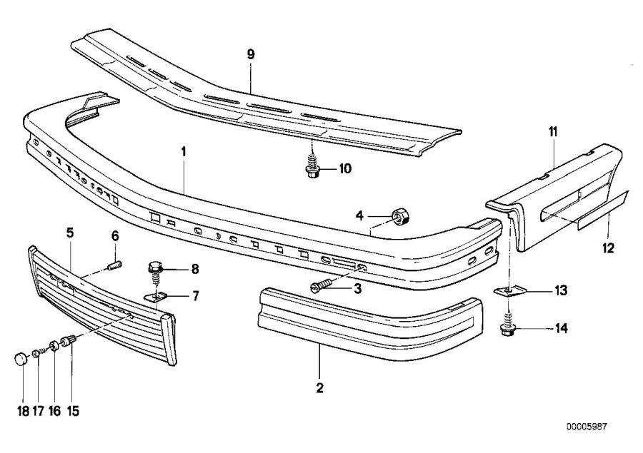 BMW M6 Rubber strip, bumper front right. Trim, Body