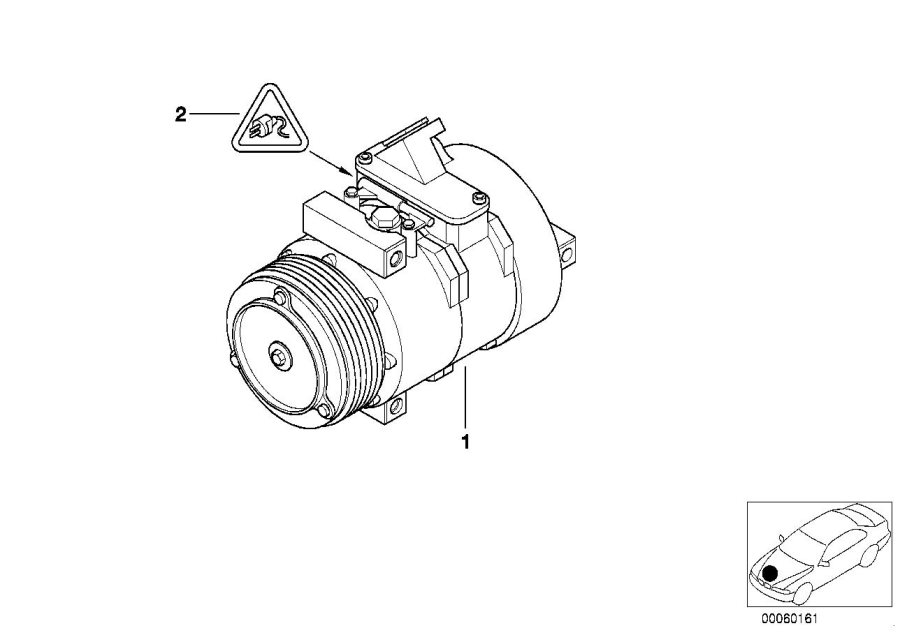 BMW X5 Rp air conditioning compressor. Belt, drive
