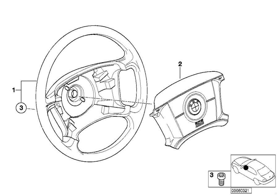 BMW 328i Steering wheel, leather. Airbag, Suspension