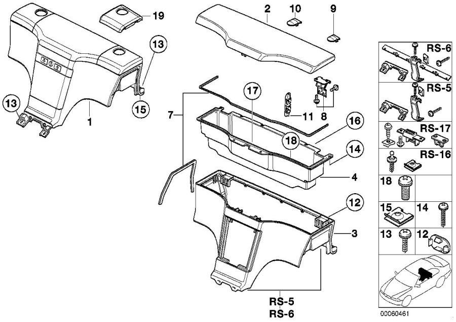BMW Z3 Rear oddments box. Beige. Body, armrest, trim