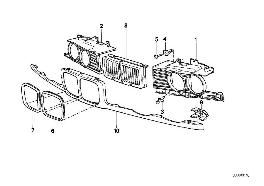 BMW M5 3.6 Grille center. Trim, exterior, body