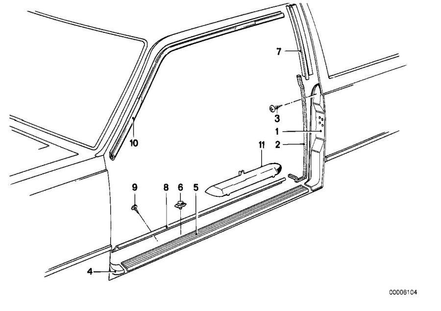 BMW 635CSi Sill strip. Body, interior, equipment