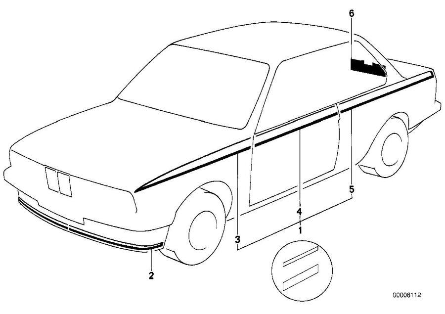 BMW 630CSi Ornamental strips, black front right. Trim