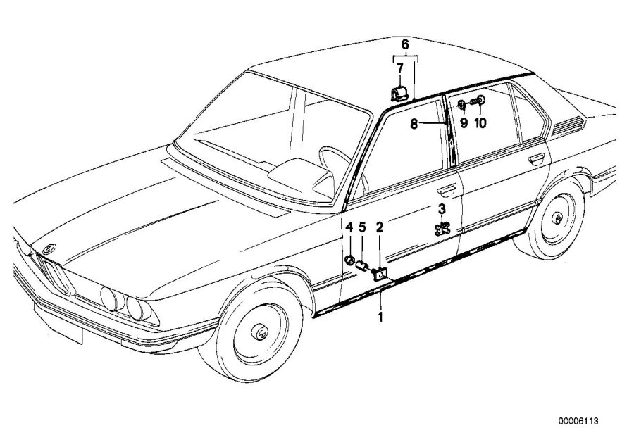 BMW 530i Moulding roof left. Trim, exterior, body