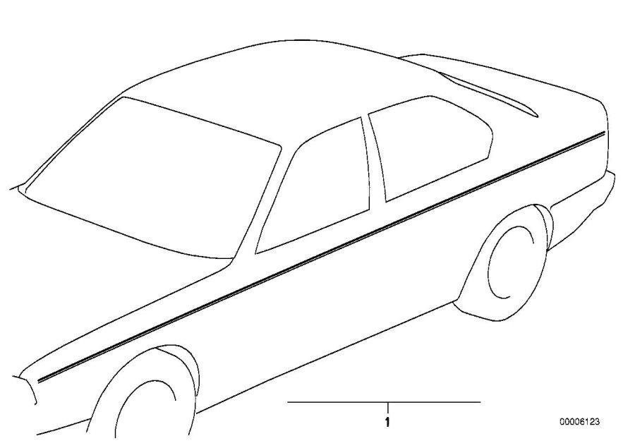 BMW 735i Ornamental strips. SCHWARZ/SCHWARZ. Exterior