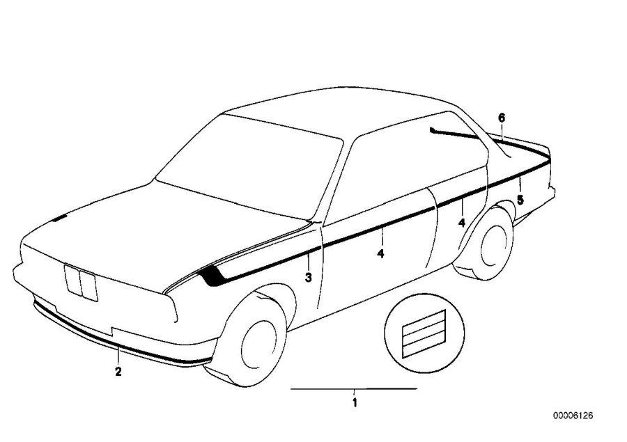 BMW 318i Decorating stripes fender rear left. M technic