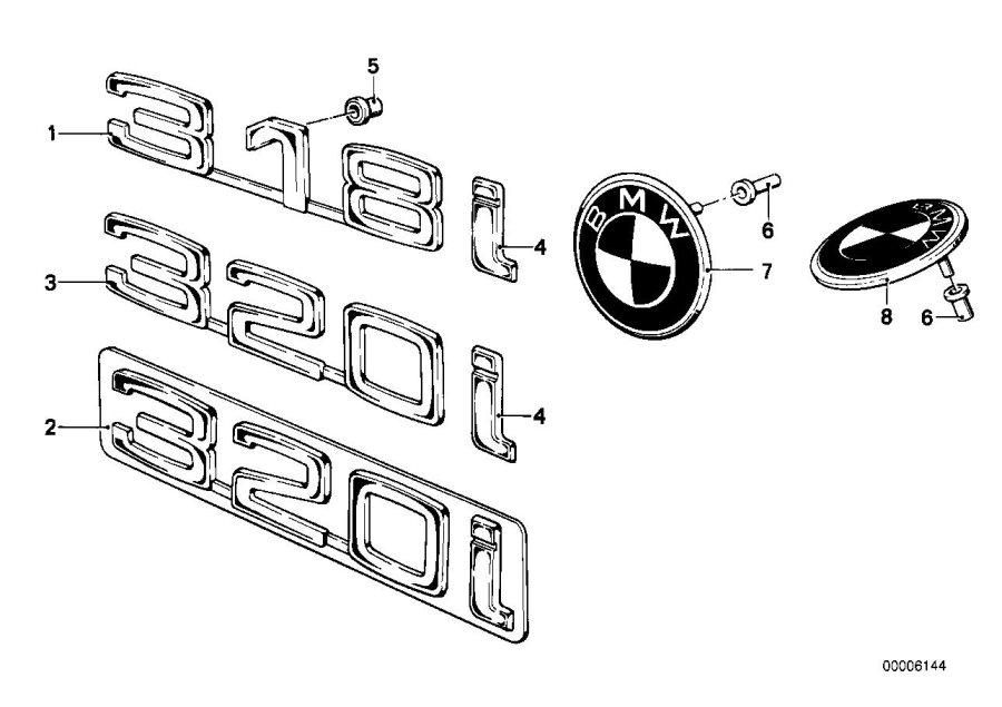 BMW 320i Trunk lid badge. Trim, body, exterior
