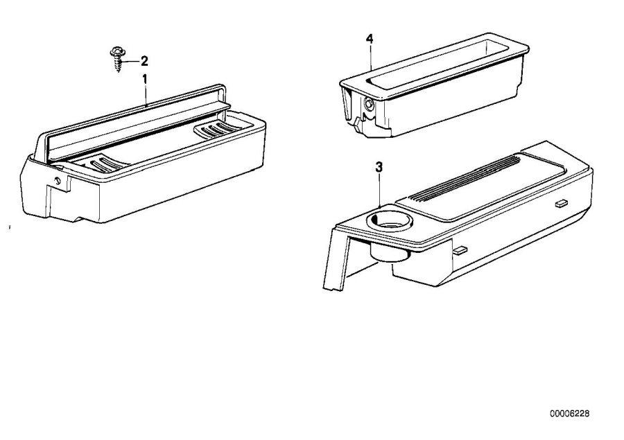 BMW 635CSi Storing partition. Body, armrest, trim