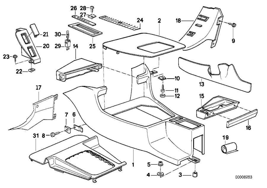 BMW 525i Depositing box bottom panel. Pergament. Body