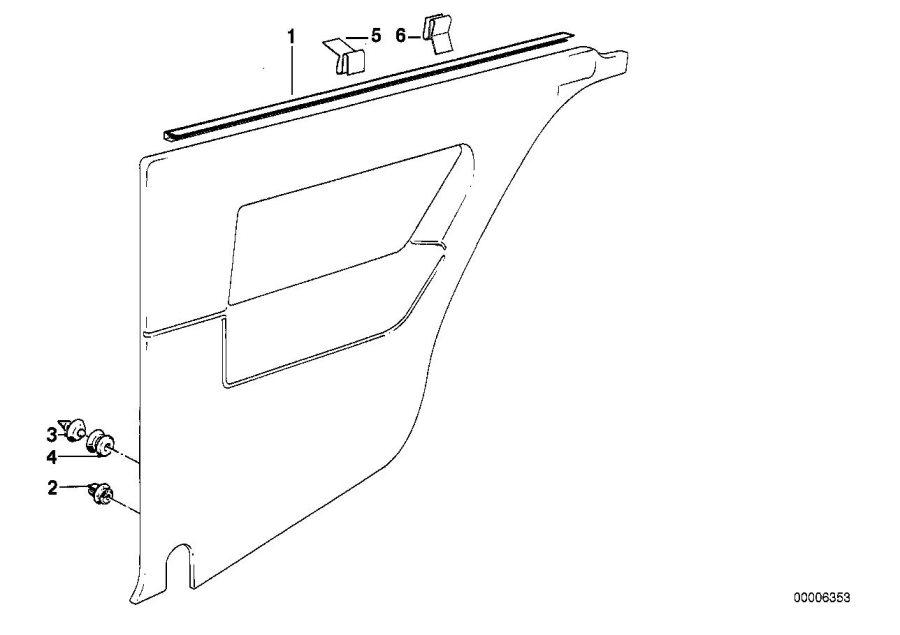 BMW 325ix Decorative strip. SCHWARZ. Trim, Lateral, Panels