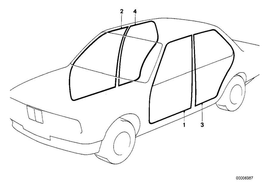 BMW 325e Edge protection left. Body, interior, equipment