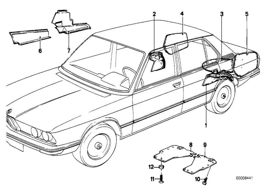 BMW 530i Panel wheel housing part.trunk left. Trim