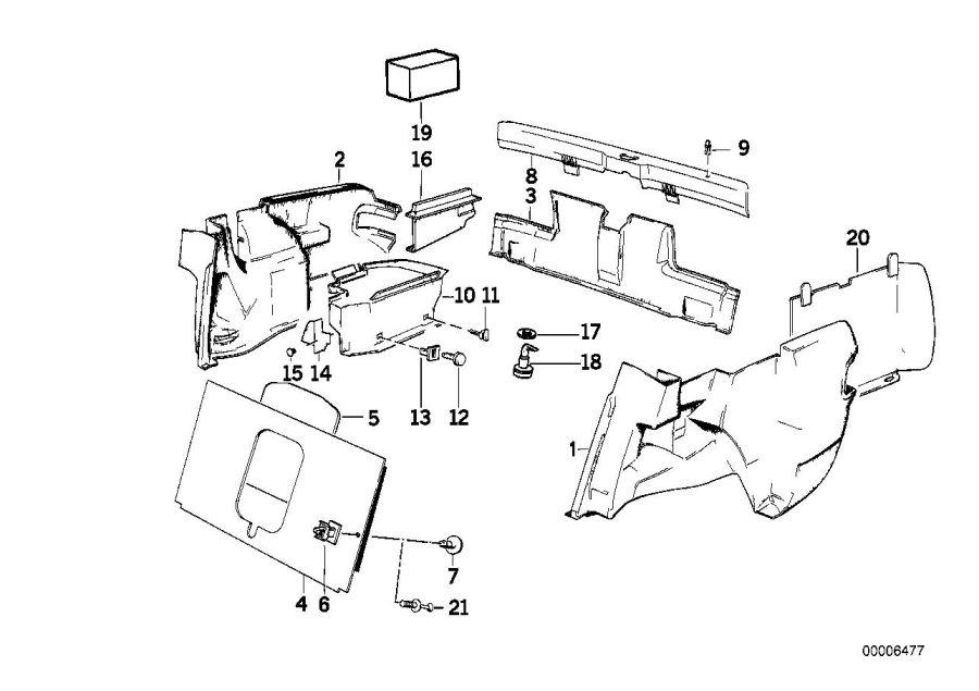 BMW 318i Panel wheel housing part.trunk right. Anthrazit