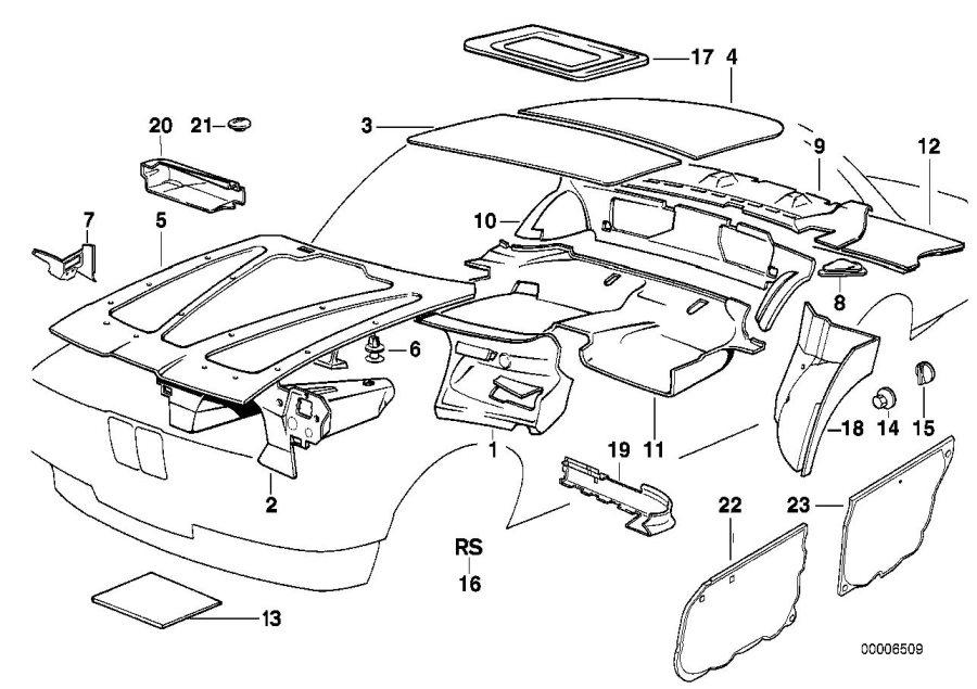 1994 BMW 540i Sound insulating engine hood. Insulation