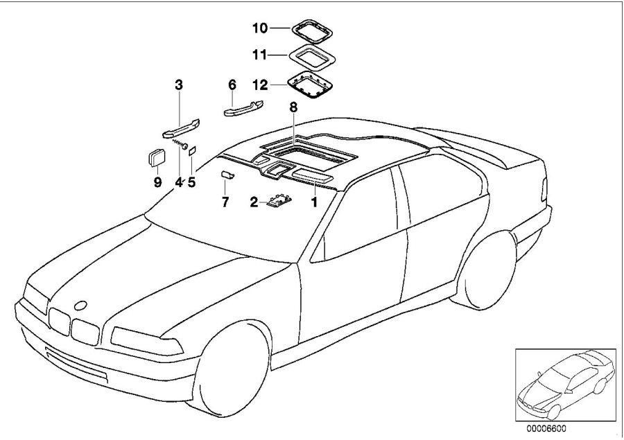 BMW 318is Handle rear left. Grau. Interior, equipment