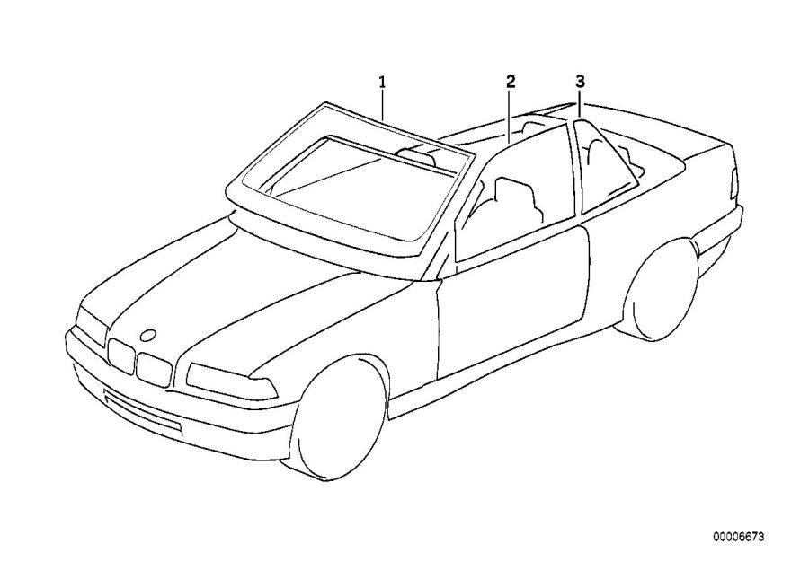 BMW 328i Windscreen, clear with anti-glare strip. Glazing