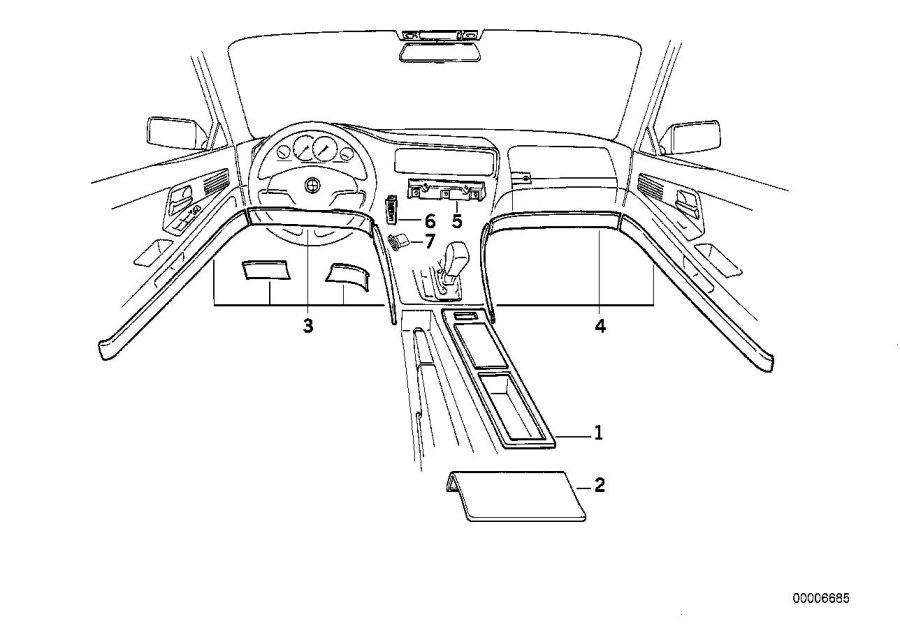 BMW 850CSi Right wood cover repair kit. Vogelaugenahorn