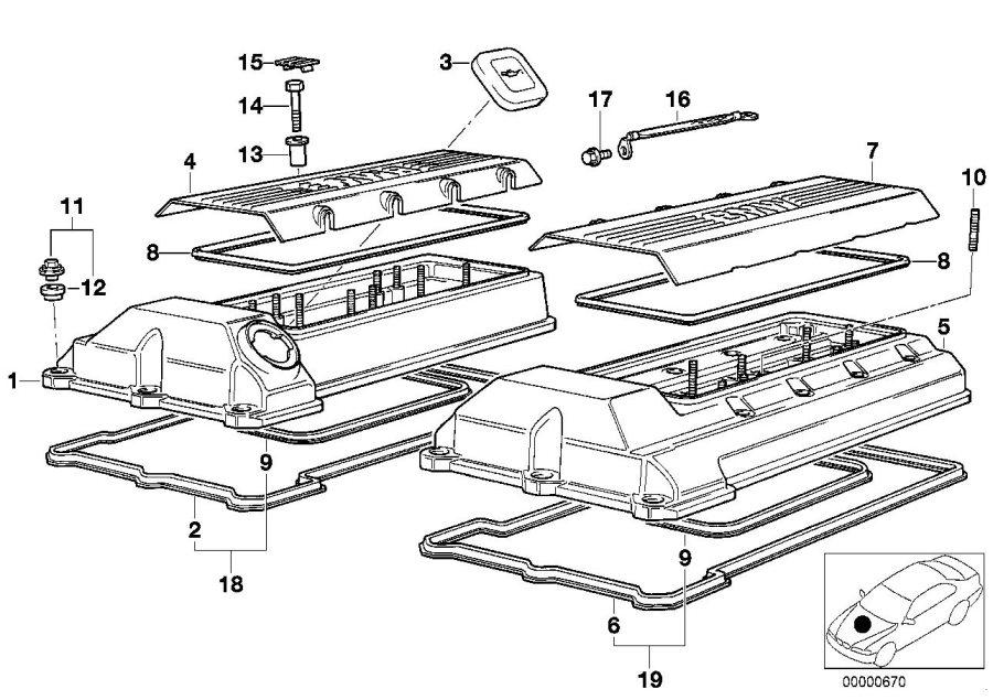 BMW 540i Sealing cap, oil filler neck. CYLINDER, APPLIES