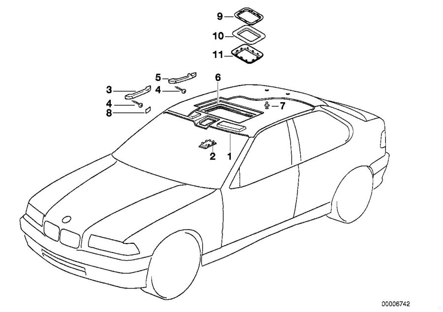 BMW 318ti Headlining. SANDGRAU. Equipment, Body, Interior
