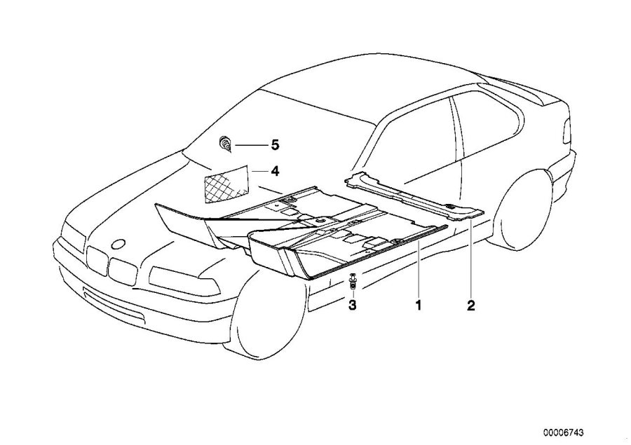 BMW 318ti Floor trim, front. ANTHRAZIT. Interior